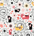 Decorative texture with lovers cats vector image vector image