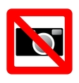 Sign prohibiting use of camera vector image