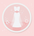 Pretty strapless wedding dress icon on pink vector image