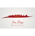 San Diego skyline in red vector image vector image