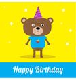 Cute cartoon bear with hat Happy Birthday party ca vector image