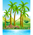 Coconut trees by the ocean vector image vector image