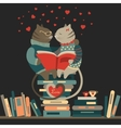 Cats in love reading a book vector image