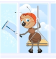 Climber washes window Ant Industrial climber at vector image