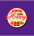 creative design of happy birthday sticker or label vector image