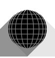 earth globe sign black icon with two flat vector image