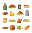 Oktoberfest Beer Food Flat Icons Set vector image