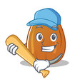 playing baseball almond nut character cartoon vector image