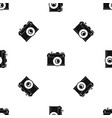 retro camera pattern seamless black vector image