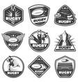 vintage monochrome rugby labels set vector image