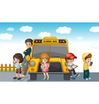 Kids standing by bus vector image vector image