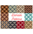 damask seamless decoration patterns set vector image vector image
