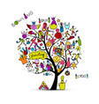 bowling tree concept sketch for your design vector image vector image