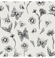 Summer Monochrome Vintage Floral Seamless Pattern vector image vector image