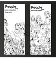 People with electronic gadgets line art on two vector image vector image