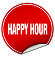 happy hour round red sticker isolated on white vector image
