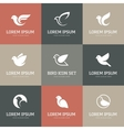 White bird icons set vector image