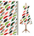 women dress fabric pattern with feathers vector image