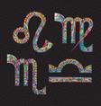 zodiac signs lion virgo libra scorpio art vector image