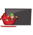 A boy riding in a sleigh with gifts vector image vector image