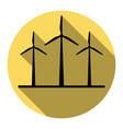 wind turbines sign  flat black icon with vector image