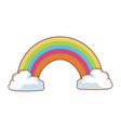 cartoon beauty rainbow with clouds vector image
