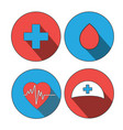medicine icon flat set world blood donor day vector image