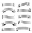 big silver ribbons set vector image