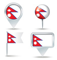Map pins with flag of Nepal vector image