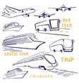A set of vehicles for travel Air water and land vector image