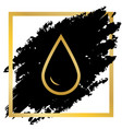 drop of water sign golden icon at black vector image