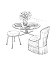 Room interior sketch Hand drawn furniture vector image