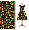 women dress fabric with fruit pattern vector image