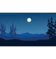 Silhouette of hills on blue backgrounds vector image