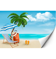 Beach with palm trees and beach chair Summer vector image vector image