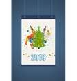 Merry Christmas greeting card design Poster with vector image