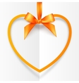 Orange hanging heart frame on silky ribbon with vector image
