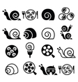 Snails French snail meal - escargot icons set vector image