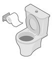 Toilet and roll of toilet paper Isometrics vector image
