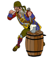 Drunk pirate on a barrel of rum vector image