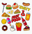 fast food doodle with pizza burger and fries vector image