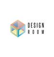 Isometric cube logo geometric shape 3D design vector image