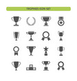 trophy icons set on a white background vector image
