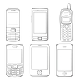Mobile phones silhouettes set vector image vector image