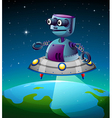 A robot above the earth vector image