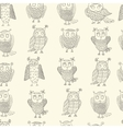 Cute cartoon owls pattern vector image