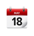 May 18  flat daily calendar icon Date and vector image