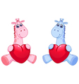 baby giraffes holding hearts vector image