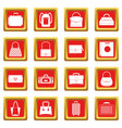 Bag baggage suitcase icons set red vector image
