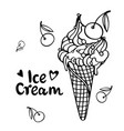 ice cream with cherry summertime concept flat sty vector image